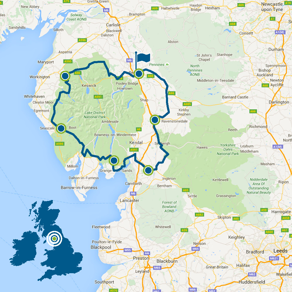 Lakes & Dales Loop map